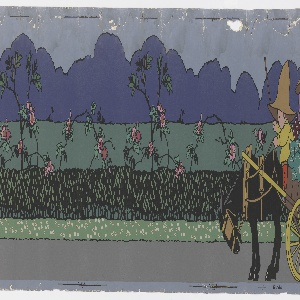 "Nursery or children's border with a stylized farm scene: children driving cows to barnyard, children in vegetable cart, sign ""To Cowslip Farm"".  Printed in colors on a gray ground. Printed in selvedge: ""Rd No. 700371""."