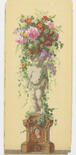 Statue of an infant or putti standing on vine-covered pedestal, supporting a basket of vining flowers.