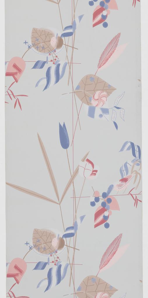 Bird, flower, leaf forms in color on blue ground