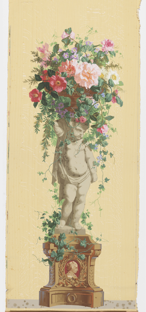 Statue of an infant, standing on vine-covered pedestal, supporting a basket of vining flowers.