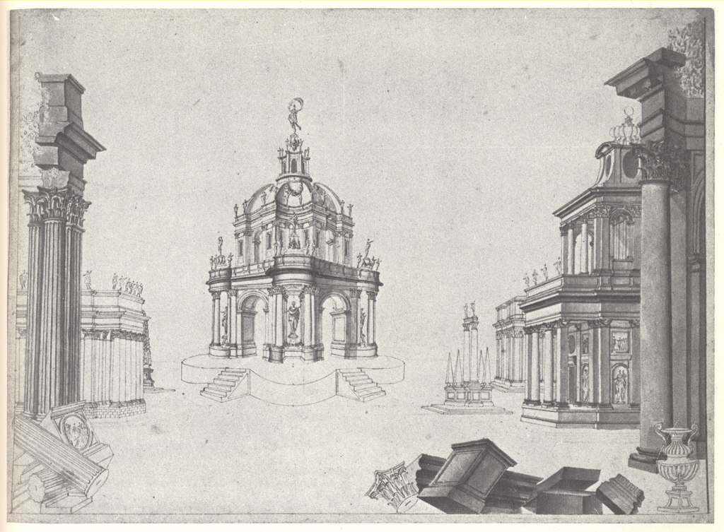 Drawing, Stage Design: Architectural Capriccio with a Tempietto and Broken Columns