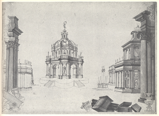Horizontal drawing of a stage design. In the middle a domed tempietto with sculptural decoration and trefoil ground plans. On either side antique buildings, in the foreground ruins; in unfinished state.