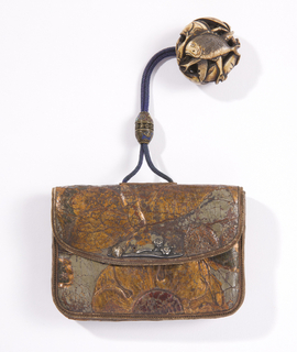 Purse (kin-chaku) With Pendant (netsuke) And Cord Fastener (Netherlands (leather))