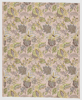 Chintz pattern: Stylized floral and foliate motifs printed in blues, greens and yellows on pink ground.