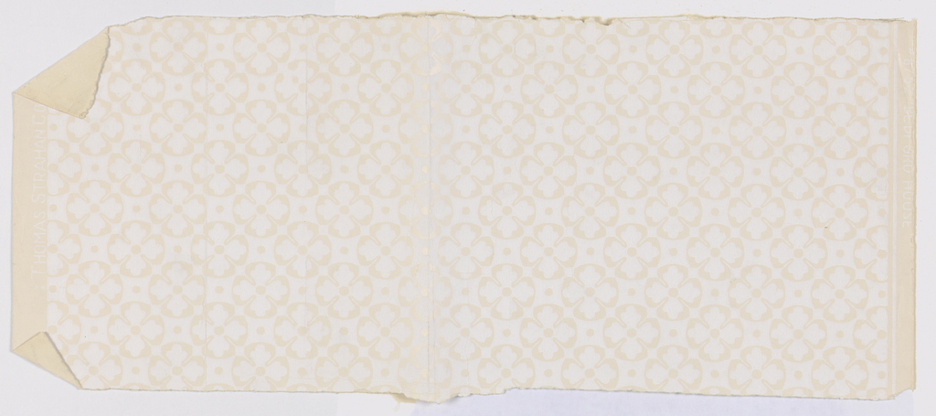 Irregular, discolored fragment of wallpaper with white quatrefoils on egg-shell glazed ground; b, c) Reproductions of design on mica ground.