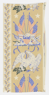In left band, American flags intertwined with laurel branches; in right band, American eagle alternating with patriotic military trophy. Narrow bands of oak leaves. Blue, red and dark green on tan ground; after original from Gov. Lathrop's House, Connecticut.