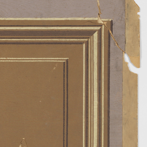 Imitation wood wainscoting, showing two alternating inset panels: one large and one small, against gray ground.
