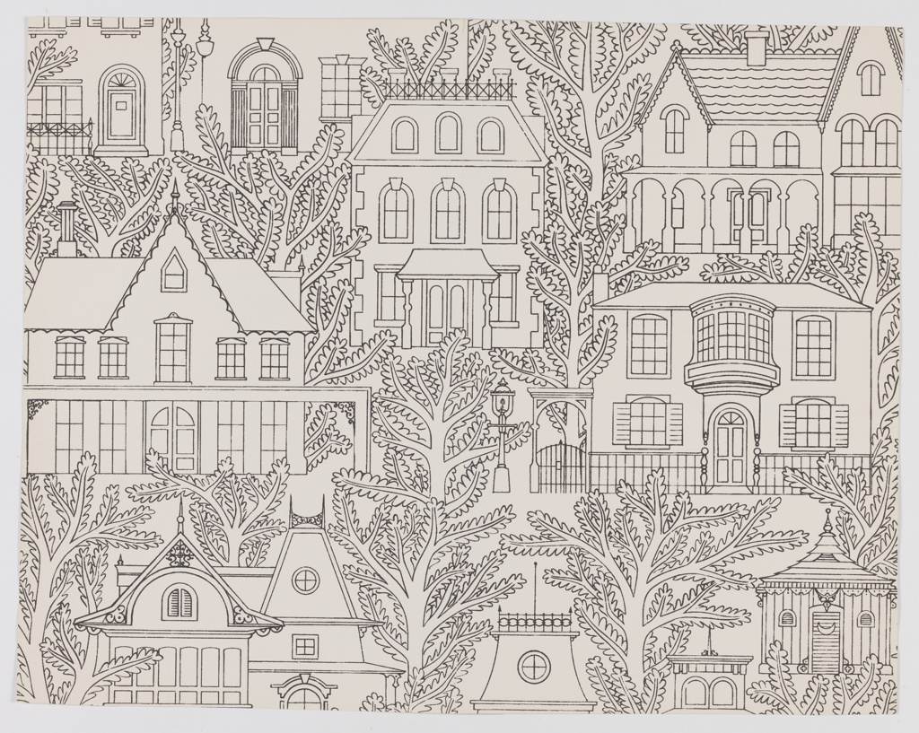 Frontal views of Victorian homes, each separated by trees. Printed in black on white ground.