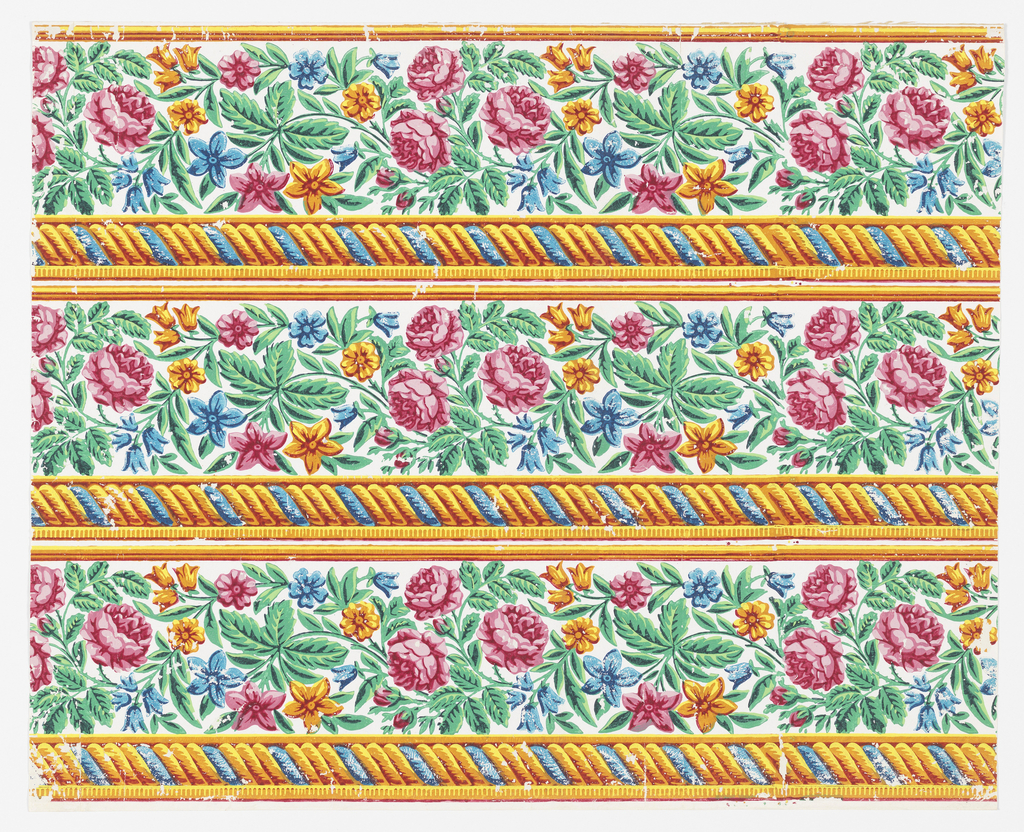 Floral border printed three across, containing yellow and blue rope twist or cable modling at bottom edge, frieze of roses and other flowers in red, yellow, blue and green on a white ground.