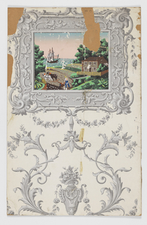 Landscape scenes set within an elaborate frame in the Rococo or Renaissance style. a) shows a bridge and tower, while b) shows a large ship in a harbor. The scenes are printed in color and the framework, vases and flowering vines are in grisaille.