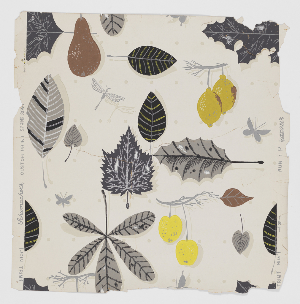 Stylized leaves, lemons, pears, cherries and insects in random arrangement. Gray and yellow predominate, and the objects cast shadows on the ground color. Regular rows of generously spaced gray dots cover the ground horizontally and form vertical columns as well. Printed on white ground.