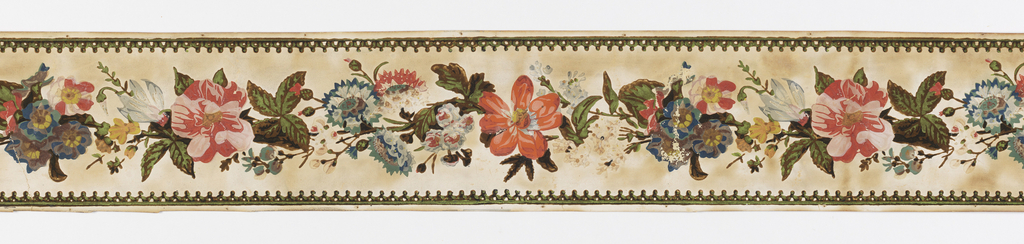 Serpentine chain of various flowers, with border of geometrical pattern, printed in colors on white field.