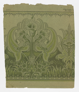 """A formal design of three stylized calla lilies enclosed in their leaves forming a medallion. Between is a smaller motif of one upright flower with leaves. At bottom is a continuous border of smaller flowers with upright leaves. At top is a narrow scroll design with circles and dashes. On margin is printed: """"Standard paper - 2004""""."""