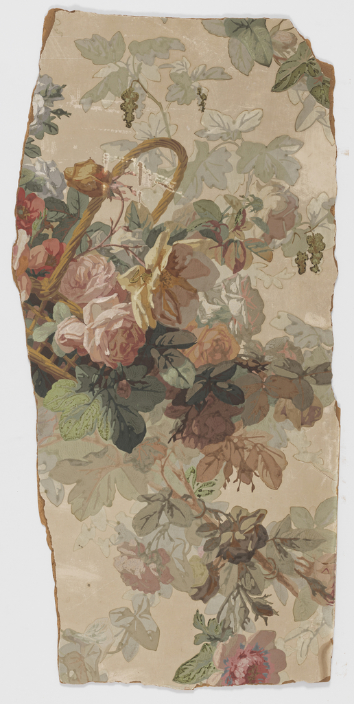 Vertical rectangle. Framework of diagonal chains of roses, with tilted basket of roses at the center. Mounted on board and badly damaged - broken into many small pieces.