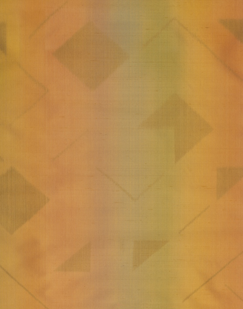 Warp printed design with geometric shapes on a ground which has printed stripes in the warp and an orange weft. The ground appears orange when seen directly from the front, but is rainbow striped when seen obliquely.