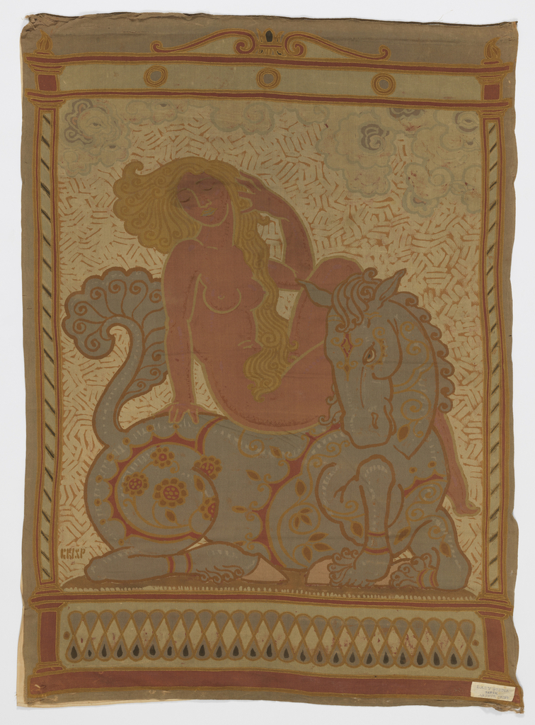 Blonde nude female figure sitting astride a horse with chinoiserie ornament.