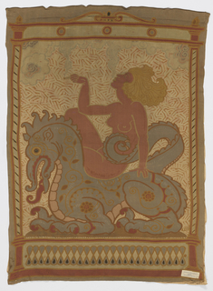 Blonde nude woman smoking a cigarette while sitting astride a dragon, with chinoiserie clouds of smoke, inside a framework.