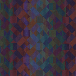 Geometric pattern in rich reds, greens, blues and purples. The colors create purple/red and blue/green vertical stripes. Intended for upholstery.
