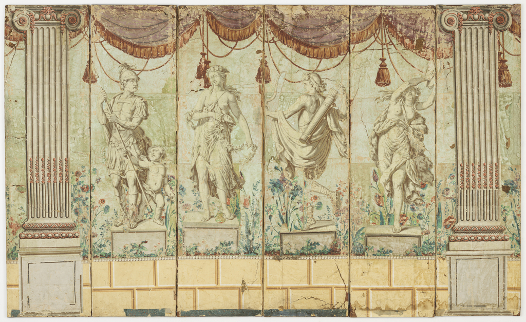 Six-panelled folding screen, covered with wallpaper depicting four classical statues and two pilasters. Each of the figures is perched atop an ashlar block plinth. Draperies and cord and tassels are suspended from the tops of the pilasters. Printed in grisaille with pink highlights.