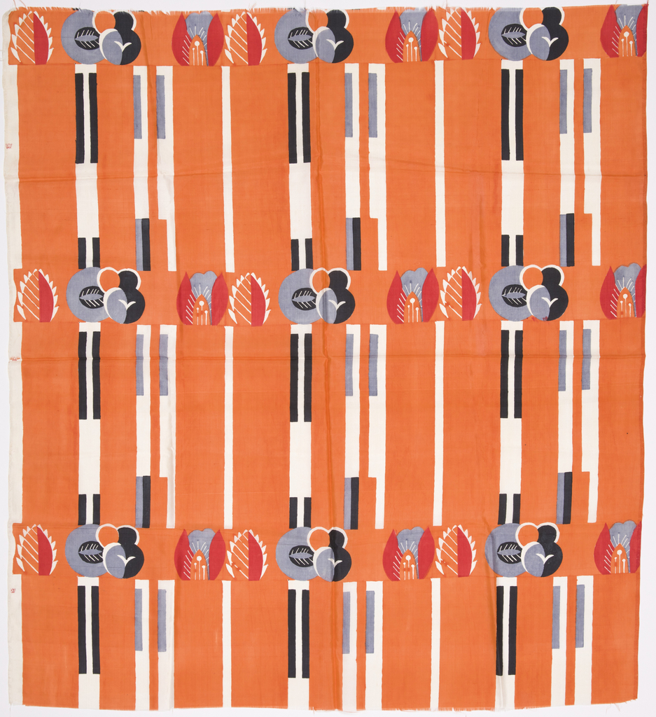Printed silk dress fabric with an orange ground, vertical bands of white, black and gray, and stylized floral pattern in black, white, gray and red.