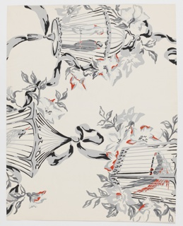 Bird cages containing birds, suspended from ribbon with floral garnishes. Printed in gray, black and red on white ground.