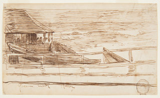 Horizontal view of a life brigade house and railing shown at left with three beached rowboats in front. Figures visible inside house looking out to turbulent sea at right.