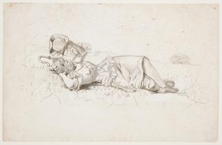 Drawing, Shepherdess Resting