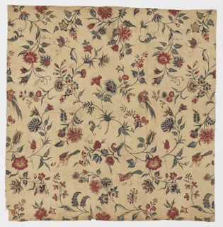 Scattered floral sprigs and birds. Indian adaptation of European pattern. As design is hand drawn repeat is irregular.