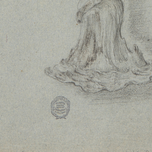 Vertical rectangle showing a woman in profile kneeling upon a rock, carrying a fantastic shell.
