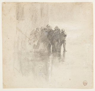 View of a group of men in oilskins, at center middleground, standing on wet ground against wall of Tynemouth volunteer life brigade house and  looking out to rough sea; faint indication of railing and sea beyond, at left.