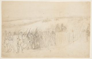 Horizontal view of a marching infantry column with drummers at left drawn distanctly and a company of soldiers mounted on horses in the distance.