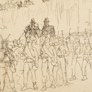 View of an infantry column marching, with a few soldiers' figures drawn distinctly; trees and tree stumps shown in middle ground; small company of soldiers mounted on horses at rear.