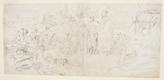 "Recto: Horizontal composite of various scenes in an army encampment. Verso: Vertical sketches, a saluting Zouave, probably shown from the back; head is show in profile, at left.  Partially drawn over a ""wash"" list."