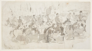 Horizontal view filled with lancers on horseback in left foreground, left and extreme right middlegrounds, with a bugler and two officers at right, as a large house and animals stand in central background and as a river, containing a steamer and a sailing ship, gives way to the far shore in right background.