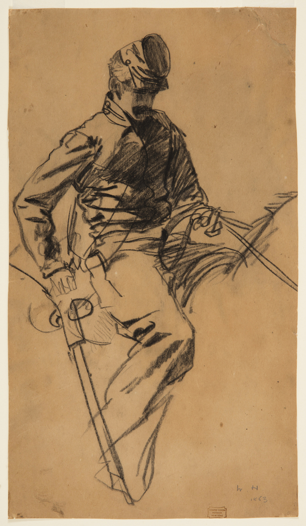 Vertical study of a soldier holding reigns in his left hand and a sword in his right hand, as he faces right, and sitting on horseback [horse is not deliniated].