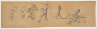 Horizontal view of four sketches of running soldiers carrying rifles; one of an officer with sword raised in uplifted riight hand; and one of a seated wounded soldier.