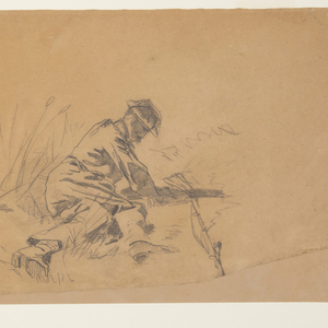 Horizontal view of four sketches of running soldiers carrying rifles; one of an officer with sword raised in uplifted right hand; and one of a seated wounded soldier.