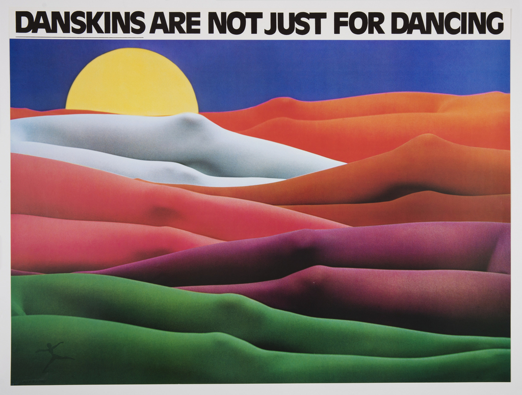 Horizontal rectangle. View of mountain landscape made up of six pairs of legs in bright colored tights: green, purple, pink, red, white, and orange. In background, a yellow sun sinks behind mountains, blue sky background. At lower left, graphic identity for Danskin in dark green, a dancer with arms and legs outstretched. At top, a white margin with black printed text.