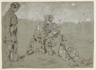 Recto: Horizontal view of a soldier kneeling beside a wounded companion, holding his head, and giving him a drink from a canteen, as a third soldier stands and watches at left foreground. A faintly drawn group appears in right background. Verso: A drill ground.