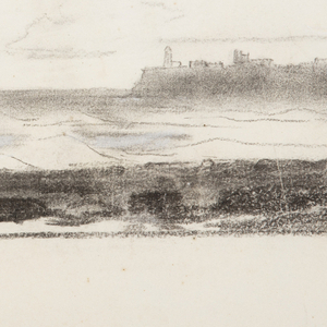 View of the bay at Cullercoats, with waves breaking on the sand, followed by a darker area of rocks, in right foreground. Suggestions of ruins at Tynemouth Priory in background.