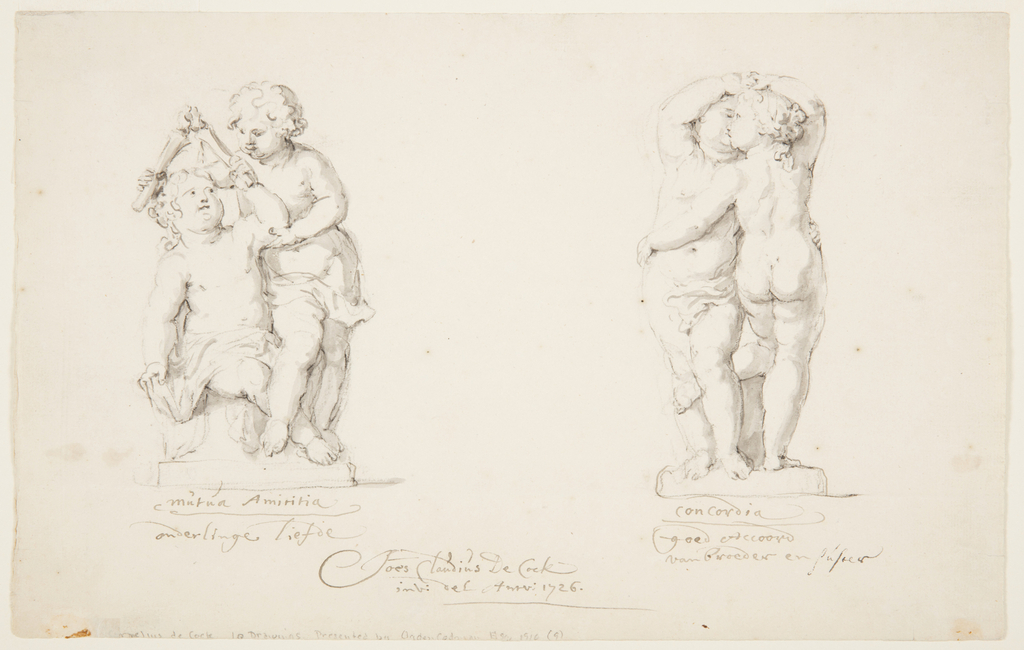 "Horizontal rectangle. At left: a sitting girl and a standing boy unite the flames of their candles. At right: a boy shown from the front, and a girl shown from the back, embrace and kiss each other. Captions written with ink; at left; ""Mutua/Amititia/onderlinge/liefde; at right: ""Concordia/goed Accoord/van broeder en."" Written with a different ink: ""suster"" below in the middle"" foes Claudius de Cock/ inv. Del Antv. 1726."""