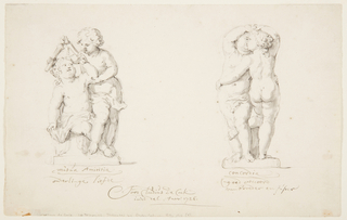 """Drawing, Projects for a statuary group: """"Friendship,"""" """"Accord"""""""