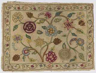 Horizontal panel filled with fantastic flower heads, leaves, spreading branches of a small flowering tree, narrow border on four sides with running floral scroll. In polychrome silk chain stitch on undyed cotton ground with fine quilting in beige silk outline stitch on diamond framework. Details in knot, buttonhole, outline sittch.