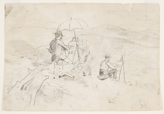Recto: Horizontal scene of two men, with easels and umbrellas, painting on a hillside overlooking distant hills and mountains.    Verso: Vertical sketch of two male heads of soldiers, parts of other sketches, one of which in invalidated; another very rough one shows a bust portrait.