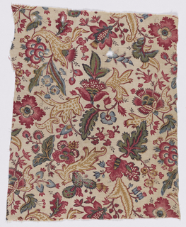 Square cream-colored fragment in a design of flowers and leaves in an allover pattern in red, blue, yellow, green, light brown and black. Design reminscent of Indian calico with decorative florishes on the leaves.