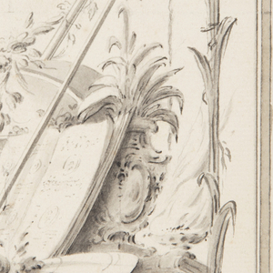 The inner framings are influenced by Watteau's designs. Niches form lines and stripes along the edges.  A trophy composed of books, weapons, plants, fruit, an inkstand, the book showing medals. Three balls of an indistinct character float before the upper part of the niche. A cross, mace, and medals are suspended from the top.
