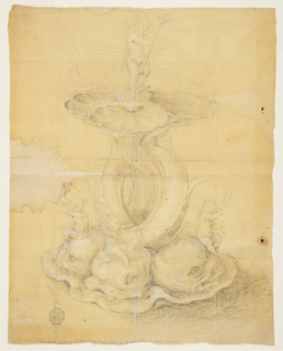 Four intertwined tails of dolphins support four shells. Putti holding reeds sit upon the dolphin's heads. Another child bearing a trident stands upon the shells, above.