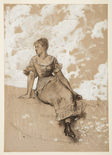 "Drawing, A Seated Girl; study for ""The Garden Wall"", 1878"
