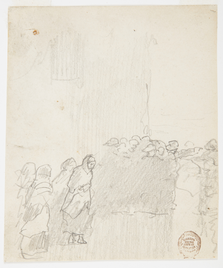 Four figures of women in shawls in lower left foreground, walking across wet ground with a group of men in oilskins on right side, standing in shelter of building, looking out to sea. Man on right edge of group pointing toward sea with left arm. Verso: Unidentified sketches.