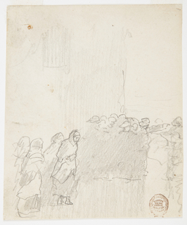 Recto:   Four women in shawls in lower left foreground, walking across wet ground with a group of men in oilskins on right side, standing in shelter of building, looking out to sea. Man on right edge of group pointing toward sea with left arm.  Verso: Unidentified sketches.